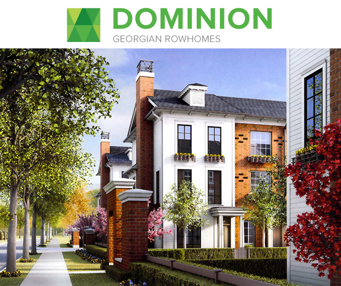 The Georgian style architecture at the new Port Coquitlam DOMINION Rowhomes, Townhouses and Loft Homes by MOSAIC Developers