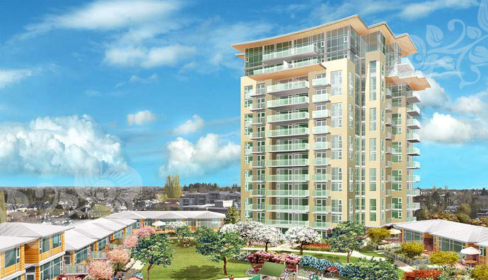 Another impressive rendering of the landmark Richmond condo high-rises at the Jewel of Richmond.
