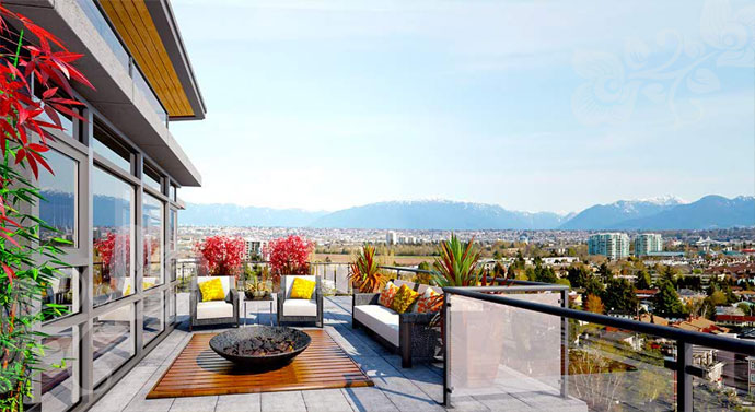 Panoramic views from the spacious decks and balconies at the Emerald Richmond Condominium Towers plus executive Richmond townhomes for sale.