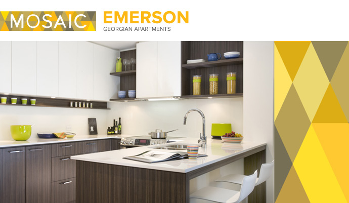 The kitchens at the MOSAIC Emerson Coquitlam condos in Evergreen Heights neighbourhood releasing May 2012.