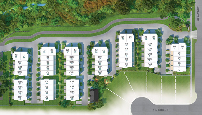Preconstruction Surrey Eton site plan with spacious family townhouses available for sale.