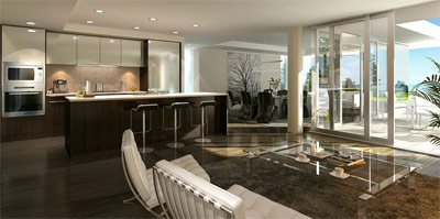 The dining room rendering here at the pre-construction West Vancouver condominiums at Evelyn Garden Homes and Estates for sale.