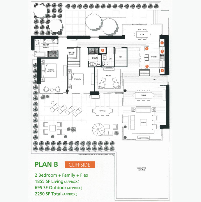 The Evelyn Cliffside floor plan B which features a spacious two bedroom plus den layout and large garden terrace deck with south facing views and exposure.