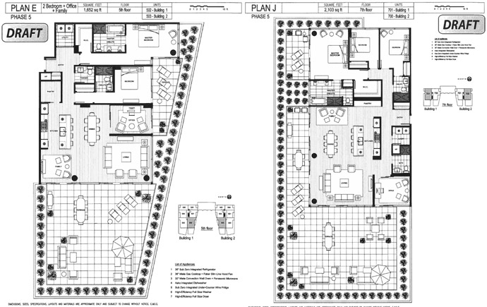 Here are floorplans for the 2 buildings in the Phase 1 release at West Van Evelyn real estate development.