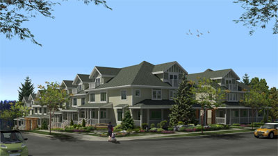 The presale Coquitlam townhomes at the Springbank Evergreen Townhouses are located at Burquitlam Park.