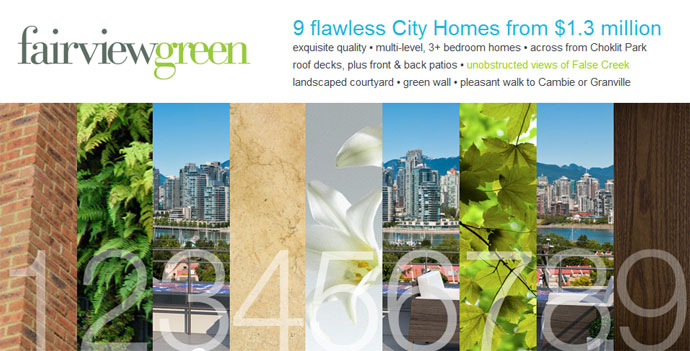 The luxury Fairview Green Vancouver cityhomes project has launched 9 boutique Vancouver townhomes at West 7th and Spruce Avenue.