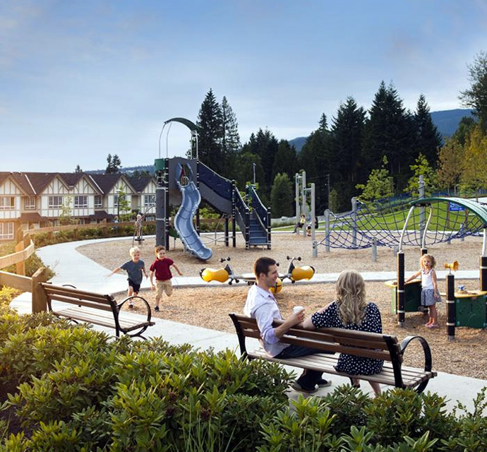 Farrington Park Coquitlam townhomes in the Foothills of Burke Mountain real estate neighbourhood.