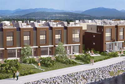 An artist impression of the New Westminster FLOW Townhouses by Aragon.