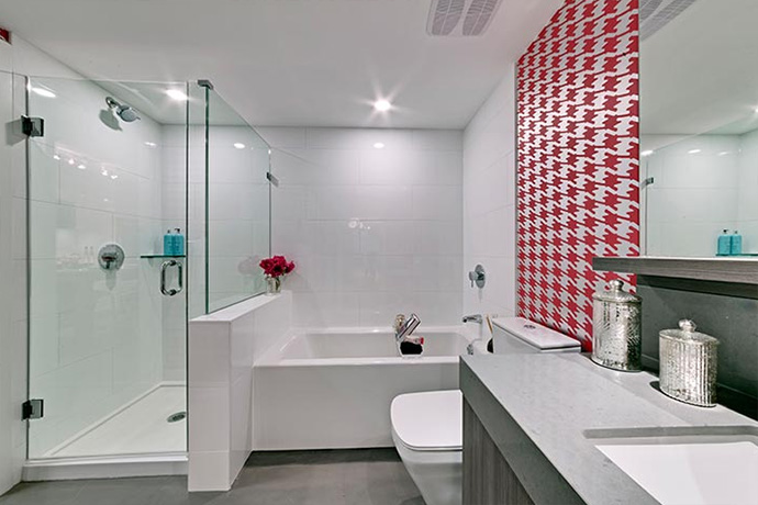 spa inspired bathrooms at the Porte Vancouver Framework apartments.