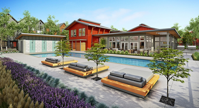 The Fremont Blue Port Coquitlam townhouse community has easy access to the amenity centre at FREMONT RIVERCLUB by Mosaic.