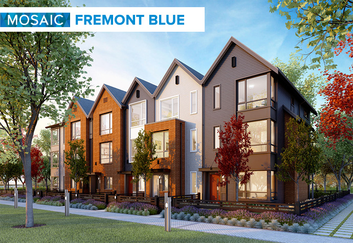 MOSAIC Saltbox Architecture at FREMONT Blue Rowhomes in Port Coquitlam Fremont real estate master planned development.