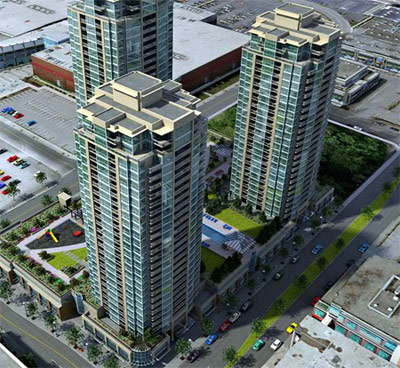 A rendering the master planned Coquitlam Town Centre Grand Central condo tower residences.