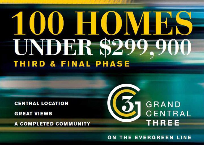 100 Homes under $299,900 at Grand Central Coquitlam Phase 3 tower.