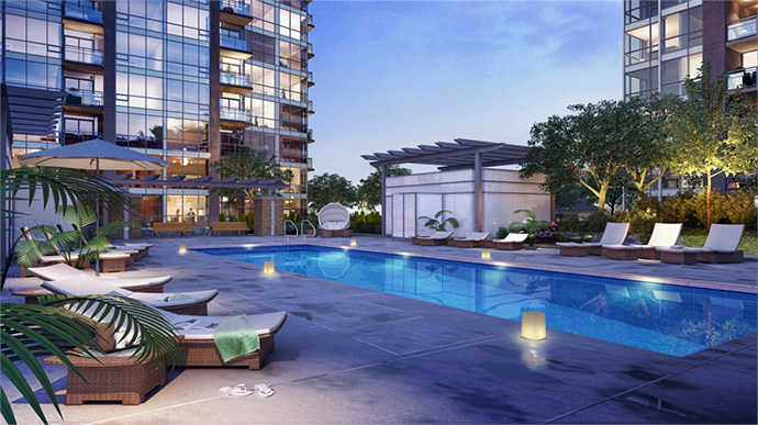Outdoor swimming pool at Grand Central 3 condos.
