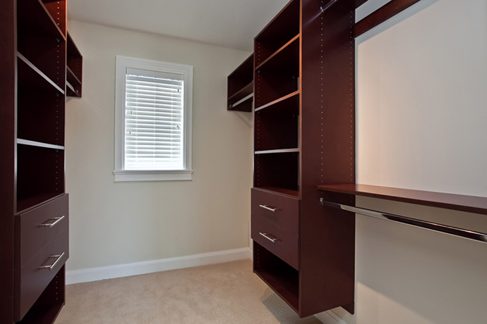 Beautiful walk-in closet at the luxury Vancouver West Side homes on Alma Street.