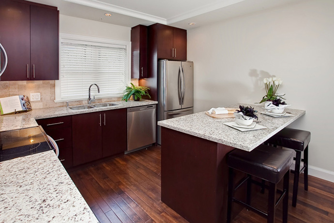 Luxury kitchen at Grey's Point Vancouver Westside townhomes.