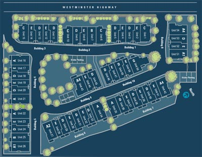 Site plan for the Steveston Hamilton Station Richmond homes for sale by Elegant Development Inc.