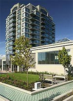 Concrete high-rise Richmond BC condominiums are on the resale Richmond real estate market at Hamptoms Park Cressey condo community.