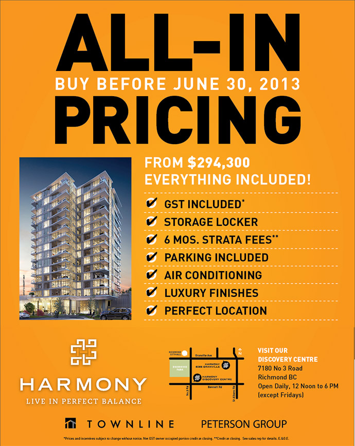 ALL-IN OFFER at Harmony Richmond condo project until June 30th.