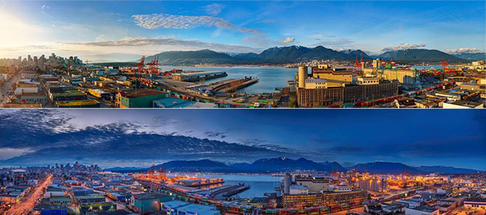 Impressive daytime and night time views from The Heatley Vancouver condo building penthouse level.