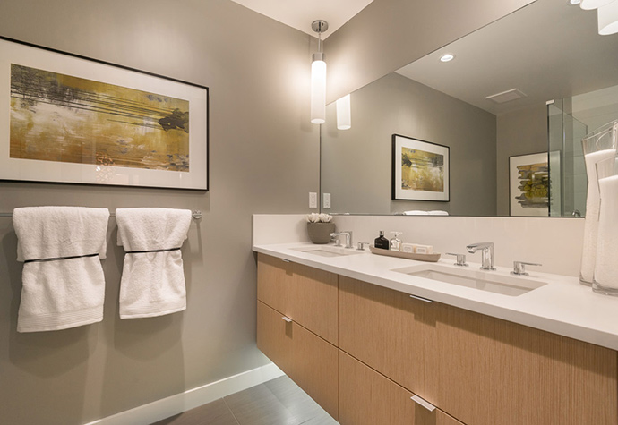 Classic modern bathrooms at the new Marcon Heywood condos in North Van real estate market.
