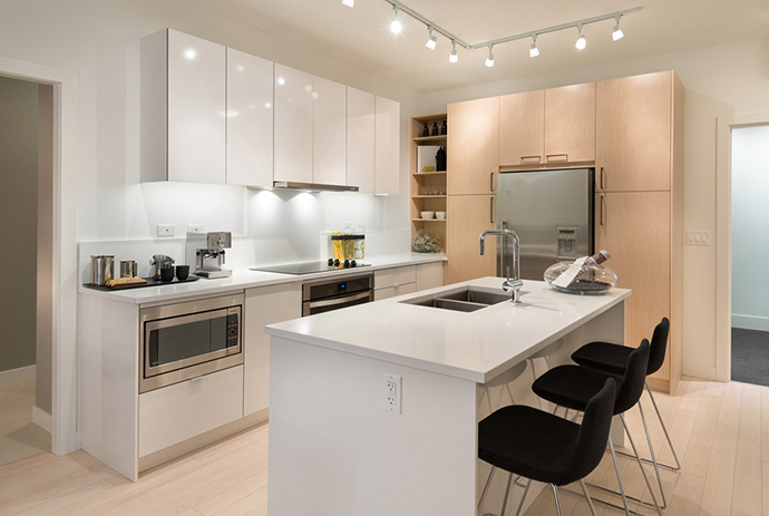 Beautiful kitchen finishes and appliance set at the Heywood North Shore condominiums.