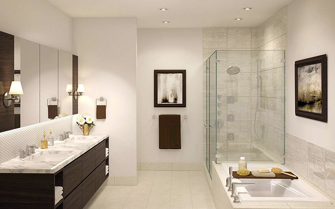 Spa inspired master ensuite bathrooms are elegant and understated.