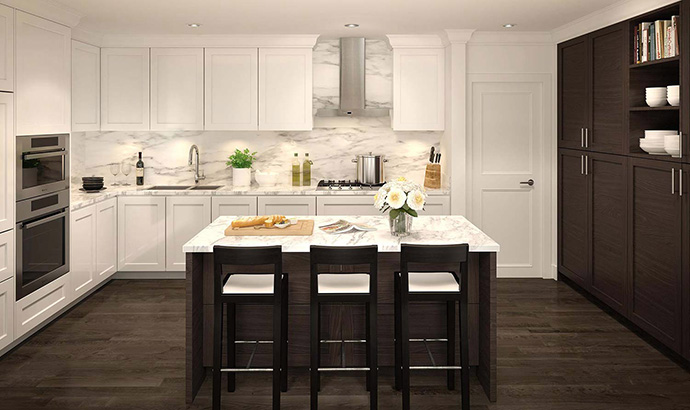 Open concept and modern kitchen finishes including a high-end appliance package grace every Highbury Residences in Point Grey Vancouver.