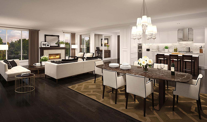 Bright and spacious living rooms at the ultra boutique Highbury Residences in Vancouver Westside.