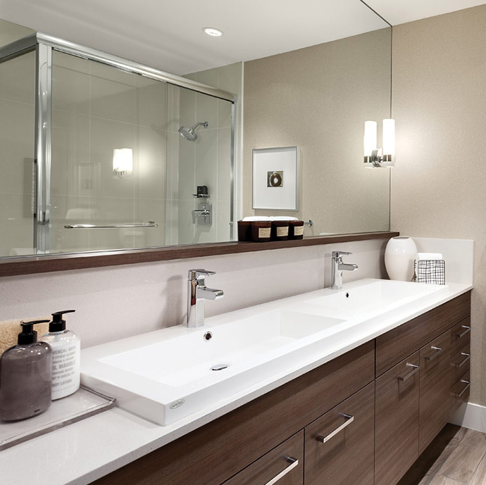 Beautiful ensuite bathrooms and main level powder rooms grace the new Highland Park Metrotown Townhouses in Burnaby real estate market place.