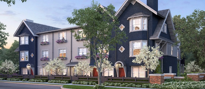 Rendering of the South Clayton Surrey Hillcrest Townhomes.