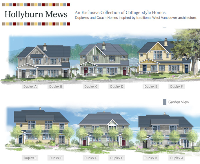boutique West Van Hollyburn Mews duplex renderings and floor plans.