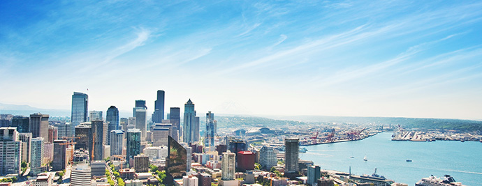 Stunning views from the presale Seattle Insignia Tower residences by Bosa Properties.