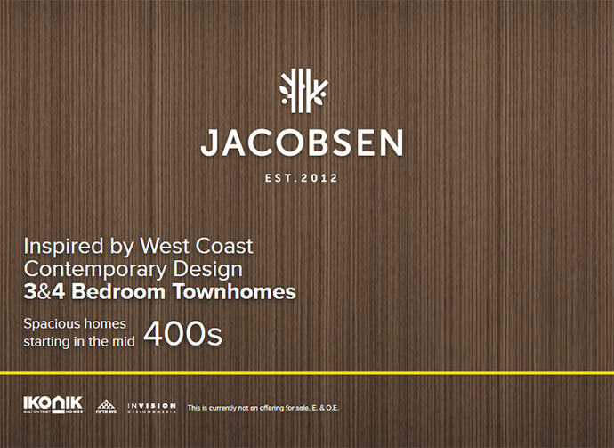 VIP registrations starts at the South Surrey Jacobsen Morgan Heights Townhomes project by IKONIK Homes