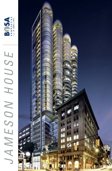 The landmark Vancouver condo tower at the Jameson House are brought to the downtown market by Bosa Properties.