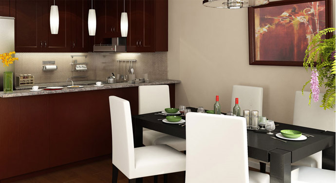 Contemporary interiors at the Royal Oak Burnaby condominiums for sale.