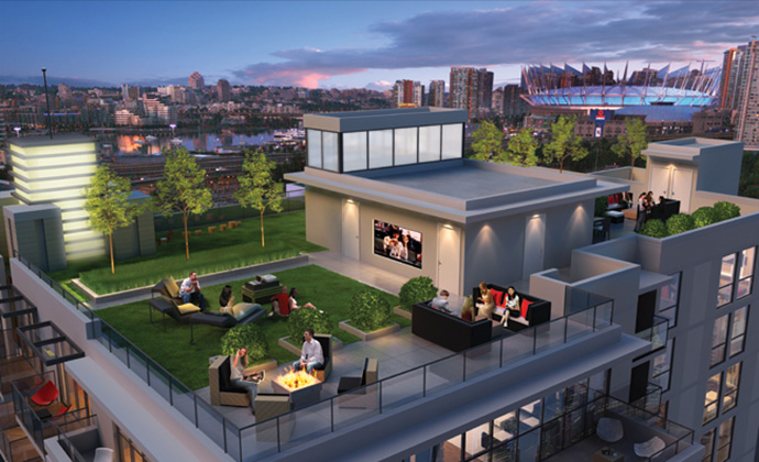 New rendering of the amazing Roof Deck at Keefer Block Chinatown Vancouver apartment flats