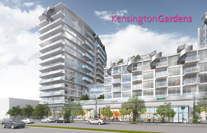 Rendering of the pre-sale Vancouver condos at the East Tower Kensington Gardens by Westbank Developers