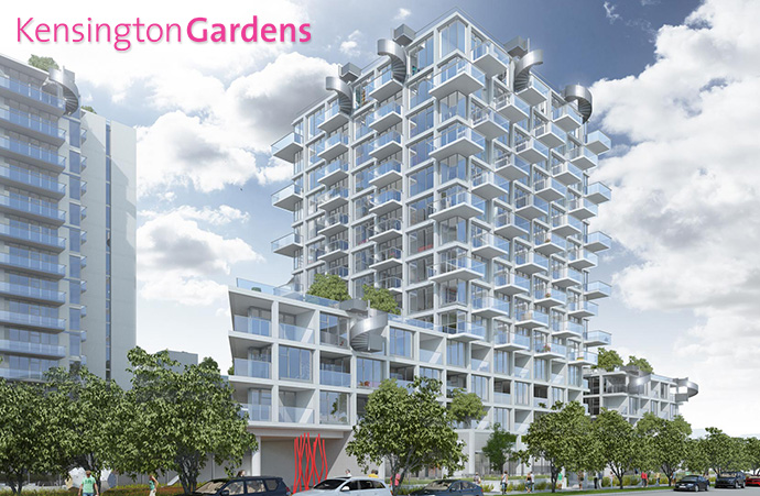Henriquez Partners Architects designed south tower at Kensington Gardens located at 2220 Kingsway Street Vancouver.