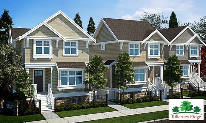 Boutique Vancouver Westside homes at Killarney Ridge development features single family detached as well as attached duplex homes.