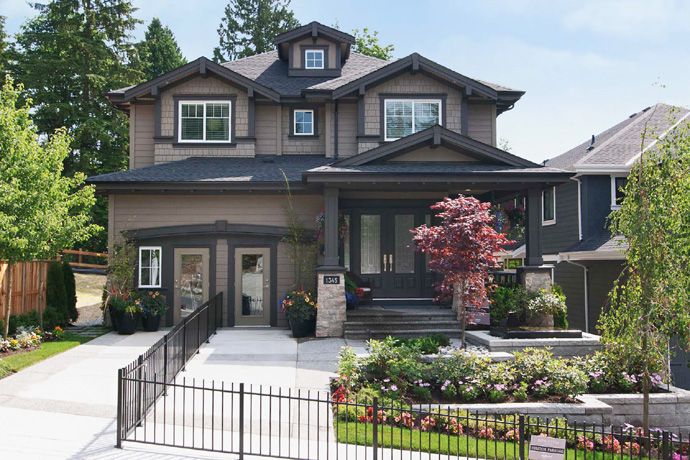 The exteriors at the presale Coquitlam Kingston Morningstar Homes.