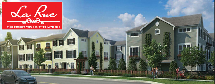 Outside rendering of the new Clayton Heights Surrey La Rue Townhomes