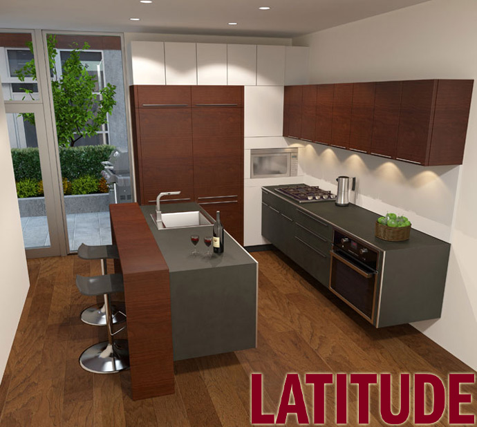the kitchens at the Trout Lake Latitude Vancouver East townhome project