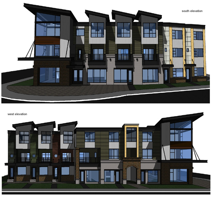 The south and west elevations for the North Shore Latitudes II townhouses