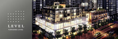 The downtown Vancouver furnished rentals at LEVEL Condos by Onni Group of Companies is launching this Summer 2009.