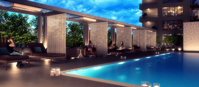 The Rooftop Pool at Lido Vancouver waterfront condos for sale.