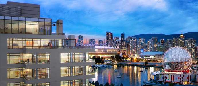 Amazing views at the Southeast False Creek Vancouver Lido Condos and Penthouses.