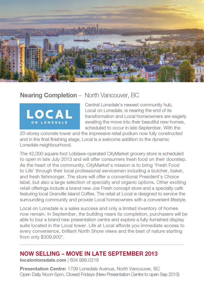 FINAL RELEASE at the Anthem LOCAL on Lonsdale North Shore condo tower.