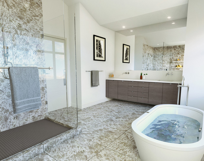 Beautiful ensuite bathrooms at the Mackenzie Heights Vancouver Westside property development featuring frameless glass shower and free standing soaker tub.