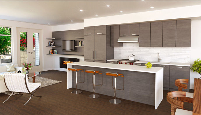 An amazing streamlined and functional kitchen at Mackenzie Green Vancouver townhomes and duplex residences.